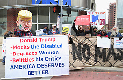 October 27, 2016 - Toledo, Ohio, United States - Protesters gather outside during a campaign rally at SeaGate Center in Toledo, Ohio, United States on October 27, 2016. (Credit Image: © Emily Molli/NurPhoto via ZUMA Press)