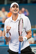 USA's John Isner reacts after defeating Russia's Dmitry Tursunov in their men's semifinals singles match at the Citi Open ATP tennis tournament in Washington, DC, USA, 3 Aug 2013.  Isner won the match 6-7, 6-3, 6-4 to advance to the final on Sunday.