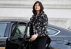 © Licensed to London News Pictures. 14/11/2018. London, UK. Minister of State for Energy and Clean Growth CLAIRE PERRY is seen arriving at Downing Street via a rear entrance for a Cabinet meeting to discus a proposed Brexit deal. Photo credit: Ben Cawthra/LNP