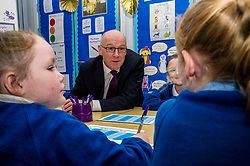 Pictured: John Swinney met up with some Primary four pupils.<br /> Today Deputy First Minister John Swinney visited Niddrie Mill Primary School to announce the publication of Scottish school statistics such as teacher numbers, ratios and class sizes. <br /> <br /> <br /> Ger Harley   EEm 12 December 2017