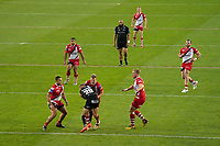 Rugby League - 2020/2021 Coral Challenge Cup - Quarter-final - Catalan Dragons vs Salford Red Devils<br /> <br /> Catalans Dragons's Sam Tomkinsis tackled, at the TW Stadium.<br /> <br /> COLORSPORT/TERRY DONNELLY