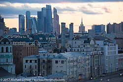 View of Moscow from the Kotelnicheskaya Embankment Building, one of the 7-sisters Stalinist structures around Moscow, Russia. Sunday April 23, 2017. Photography ©2017 Michael Lichter.
