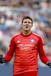 April 29, 2018 - Commerce City, Colorado - Orlando City SC goalkeeper Joe Bendik (1) looks to the Orlando fans after the whistle blows to give Orlando City SC a 2-1 win in the MLS soccer game between Orlando City SC and the Colorado Rapids at Dick's Sporting Goods Park in Commerce City, Colorado (Credit Image: © Carl Auer via ZUMA Wire)