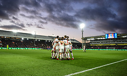 "The players of Stoke City celebrate with Xherdan Shaqiri after he scores their opening goal during the Premier League match at the Selhurst Park, London. PRESS ASSOCIATION Photo. Picture date: Saturday November 25, 2017. See PA story SOCCER West Ham. Photo credit should read: Daniel Hambury/PA Wire. RESTRICTIONS: EDITORIAL USE ONLY No use with unauthorised audio, video, data, fixture lists, club/league logos or ""live"" services. Online in-match use limited to 75 images, no video emulation. No use in betting, games or single club/league/player publications."