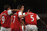 Photo: Tony Oudot.<br /> Arsenal v Sparta Prague. UEFA Champions League Qualifying. 29/08/2007.<br /> Tomas Rosicky apologises to the Sparta fans after scoring the first goal
