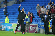 Cardiff city manager Russell Slade celebrates at the final whistle after he sees his team get 1st win of season, after they win the matchh 2-0.   Skybet football league championship match, Cardiff city v Wolverhampton Wanderers at the Cardiff city stadium in Cardiff, South Wales on Saturday 22nd August 2015.<br /> pic by Andrew Orchard, Andrew Orchard sports photography.