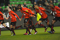 FOOTBALL - FRENCH CHAMPIONSHIP 2010/2011 - L1 - STADE RENNAIS v AC ARLES - 15/01/2011 - PHOTO PASCAL ALLEE / DPPI - JOY RENNES PLAYERS AT THE END GAME