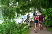 Henley on Thames, England, United Kingdom, Still a few masks being worn, Friday, 02/07/2021,   Henley Women's Regatta, Henley Reach,  [Peter Spurrier/Intersport Images],