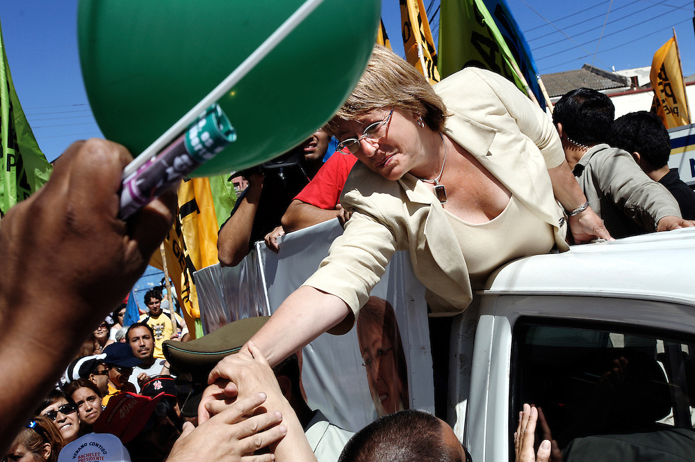Cartagena ,Chile 07 Jaunary 2006<br /> Chile's presidential candidate Michelle Bachelet of the Socialist Party is greeted during a campaign rally.<br /> Photo: Ezequiel Scagnetti