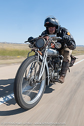 Ryan Allen riding his 1916 Indian Powerplus on the Motorcycle Cannonball coast to coast vintage run. Stage 10 (299 miles) from Sturgis, SD to Billings, MT. Tuesday September 18, 2018. Photography ©2018 Michael Lichter.