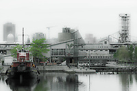 panoramic view of the Montreal city docks in quebec canada