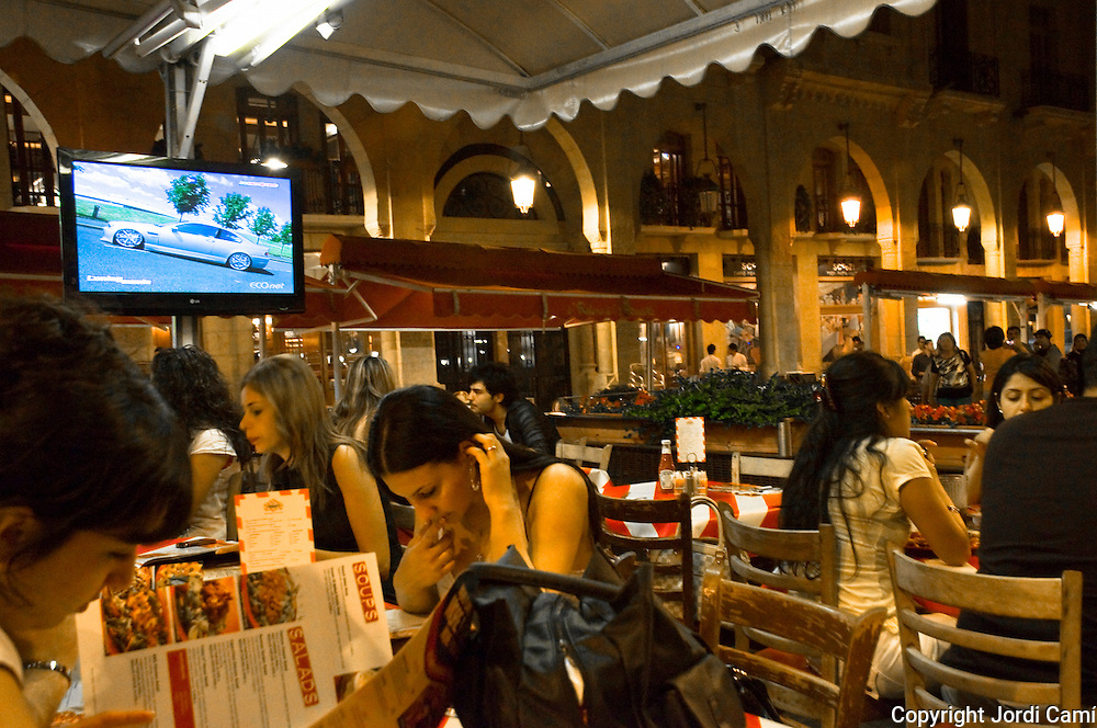 BEIRUT,LEBANON- MAY 2009  : Young  lebanese  girls in a restaurant of Beirut Down Town  at  night. Lebanon.05/31/2009 ( Photo by Jordi Cami )