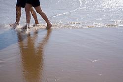 People walking in the sea,