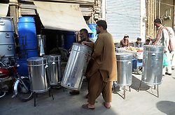 October 8, 2018 - Pakistan - QUETTA, PAKISTAN, OCT 07: Gas geysers and water containers are being selling on shops as .the demands of water geysers and water containers increases in city on arrival of winter season, .at Qandhari bazar in Quetta on Sunday, October 07, 2018. (Credit Image: © PPI via ZUMA Wire)
