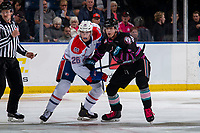 KELOWNA, BC - SEPTEMBER 21:  Jack Finley #26 of the Spokane Chiefs checks Alex Swetlikoff #17 of the Kelowna Rockets during first period at Prospera Place on September 21, 2019 in Kelowna, Canada. (Photo by Marissa Baecker/Shoot the Breeze)