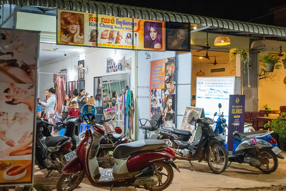 Night scene in Siem Reap, Cambodia.