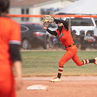 Gallup Bengal second baseman Katherine Lincoln (3) catches a fly ball during their varsity softball game against the Bernalillo Spartans Tuesday in Gallup.