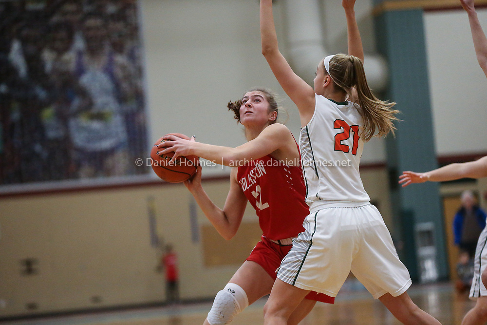 (12/18/18, HOPKINTON, MA) Holliston's Brooke Geoffroy goes up for two points during the girls basketball game against Hopkinton at Hopkinton High School on Tuesday. [Daily News and Wicked Local Photo/Dan Holmes]