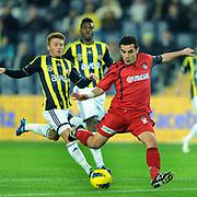 Gaziantepspor's Bekir Ozan Has (R) during their Turkish superleague soccer match Fenerbahce between Gaziantepspor at the Sukru Saracaoglu stadium in Istanbul Turkey on Monday09 January 2011. Photo by TURKPIX