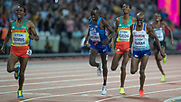 Athletics - 2017 IAAF London World Athletics Championships - Day Nine, Evening Session<br /> <br /> Mens 5000m Final<br /> <br /> Muktar Edris (Ethiopia) beats Mo Farah (Great Britain) to win the gold medal for his country at the London Stadium<br /> <br /> COLORSPORT/DANIEL BEARHAM