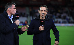"""Sky Sports commentators Jamie Carragher (left) and Gary Neville before the Premier League match at the Vitality Stadium, Bournemouth. PRESS ASSOCIATION Photo. Picture date: Friday September 15, 2017. See PA story SOCCER Bournemouth. Photo credit should read: John Walton/PA Wire. RESTRICTIONS: EDITORIAL USE ONLY No use with unauthorised audio, video, data, fixture lists, club/league logos or """"live"""" services. Online in-match use limited to 75 images, no video emulation. No use in betting, games or single club/league/player publications."""