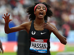 July 22, 2018 - London, United Kingdom - Sifan Hassan of Netherlands celebrates winning and World Record after in the 1 Mile Women Millicent Fawcett during the Muller Anniversary Games IAAF Diamond League Day Two at The London Stadium on July 22, 2018 in London, England. (Credit Image: © Action Foto Sport/NurPhoto via ZUMA Press)