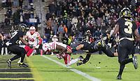 Nebraska's Stanley Morgan Jr. scores the final touchdown beating Purdue's Markus Bailey. Nebraska played Purdue University in a football game Ross–Ade Stadium on Saturday, Oct. 28, 2017, in West Lafayette, Indiana. <br /> <br /> MATT DIXON/THE WORLD-HERALD
