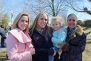 North Merrick, New York, USA. March 31, 2018. L-R, Town of Hempstead Supervisor LAURA GILLEN; SUE MOLLER, Co-President of North and Central Merrick Civic Association; and Hempstead Town Clerk SYLVIA CABANA, pose at the Annual Eggstravaganza, with Easter Egg Hunt, held at Fraser Park and hosted by North and Central Merrick Civic Association (NCMCA) and Merrick's American Legion Auxiliary Unit 1282.