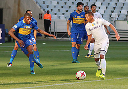 Daine Klate and Thamsanqa Mkhize in the MTN8 semi-final first leg match between Cape Town City and Bidvest Wits at the Cape Town Stadium on Sunday 27 August 2017.
