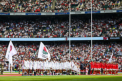 England and Wales line up - Rogan/JMP - 11/08/2019 - RUGBY UNION - Twickenham Stadium - London, England - England v Wales - Quilter Series.