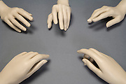 mannequin hands which looking like people communicating by way of gesturing