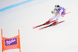 January 19, 2018 - Cortina D'Ampezzo, Dolimites, Italy - Stephanie Venier of Austria competes  during the Downhill race at the Cortina d'Ampezzo FIS World Cup in Cortina d'Ampezzo, Italy on January 19, 2018. (Credit Image: © Rok Rakun/Pacific Press via ZUMA Wire)