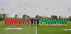 WREXHAM, WALES - Wednesday, October 30, 2019: Wales and Northern Ireland players line-up before the 2019 Victory Shield match between Wales and Republic of Ireland at Colliers Park. (Pic by David Rawcliffe/Propaganda)