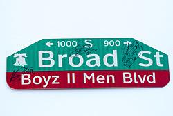 June 24, 2017 - Philadelphia, Pennsylvania, U.S - Boyz II Men, new street sign at the Philadelphia High School for the Creative and Performing Arts in Philadelphia Pa (Credit Image: © Ricky Fitchett via ZUMA Wire)