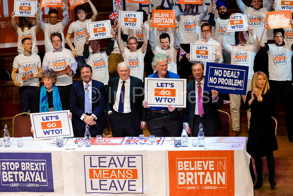 Labour Party MP Kate Hoey, British hotelier Rocco Forte, Conservative Party MP Iain Duncan Smith, Chairman of Wetherspoon Tim Martin, MEP and former UKIP leader Nigel Farage and Esther McVey MP at a 'Brexit:Let's Go WTO Rally' organised by the Leave Means Leave campaign in Westminster, London, UK on January 17, 2019 where leading business and political Brexiteers discussed why WTO rules will allow Great Britain to thrive outside the European Union after Brexit.