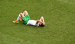 Stephen Ward of Republic of Ireland reacts to the loss  - Mandatory by-line: Joe Meredith/JMP - 26/06/2016 - FOOTBALL - Stade de Lyon - Lyon, France - France v Republic of Ireland - UEFA European Championship Round of 16