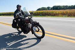 Rich Rau riding his 1916 Indian Powerplus in the Motorcycle Cannonball coast to coast vintage run. Stage 6 (260 miles) from Bourbonnais, IL to Cedar Rapids, IA. Thursday September 13, 2018. Photography ©2018 Michael Lichter.