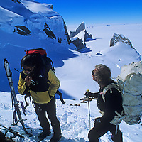 Mountaineers communicate by radio during a mountaineering expedition to Queen Maud Land