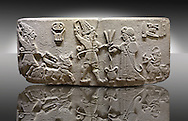 """Photo of Neo-Hittite orthostat from Karkamis, Turkey. Museum of Anatolian Civilisations, Ankara.  The meeting of the """"Storm God"""" on right and a King on the left. 3"""