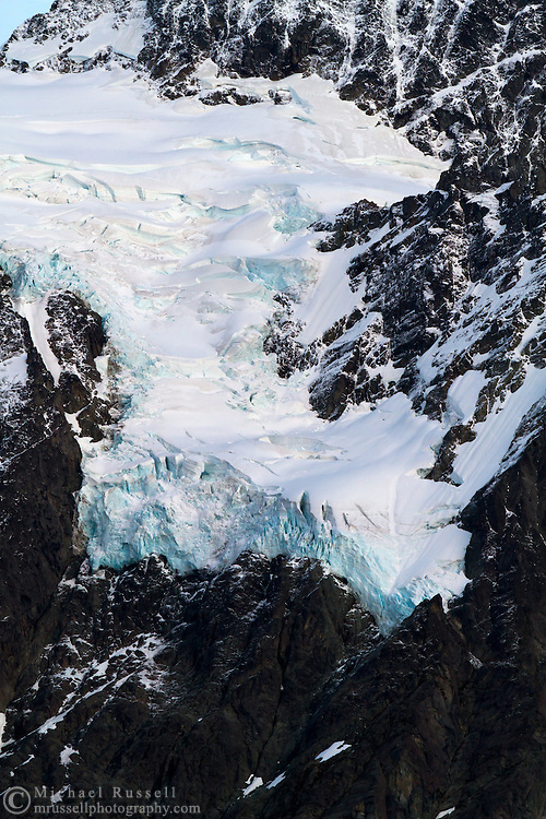 The Hanging Glacier below the Summit Pyramid on Mount Shuksan in North Cascades National Park, Washington State, USA.