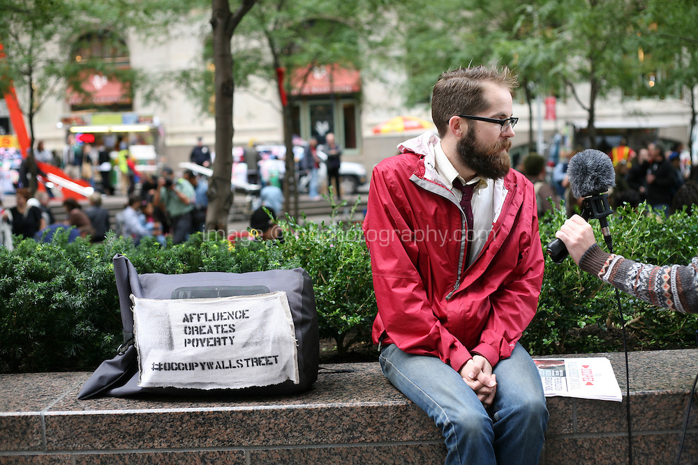Occupy Wall Street protest at Zuccotti Park in the financial district New York