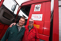 Dutch cattle transporters son and father Strijk. Transportation of European Bison, or Wisent, from the Avesta Visentpark, in Avesta, Sweden. The animals were then transported to the Armenis area in the Southern Carpathians, Romania. All arranged by Rewilding Europe and WWF Romania, with financial support from The Dutch Postcode Lottery, the  Swedish Postcode Foundation and the Liberty Wildlife Fund.