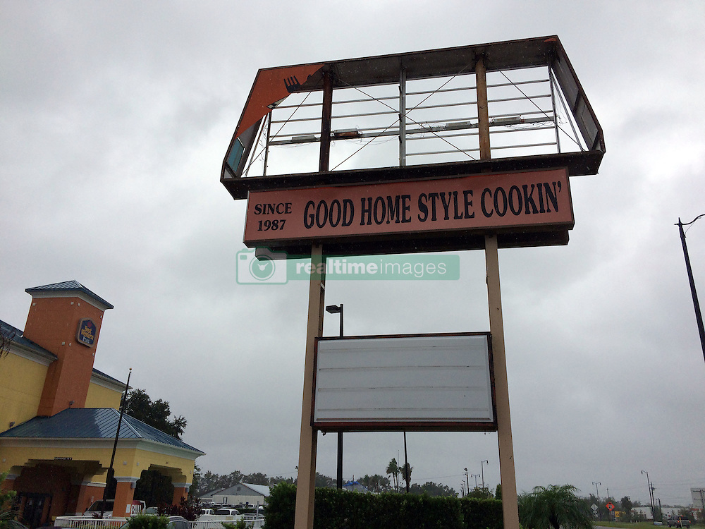 October 7, 2016 - Tallahassee, FL, USA - Signage at Mel's Family Diner on U.S. 17-92 in Sanford was damaged the morning of Friday, Oct. 7, 2016 after Hurricane Matthew blew through the area. (Credit Image: © Caitlin Dineen/TNS via ZUMA Wire)