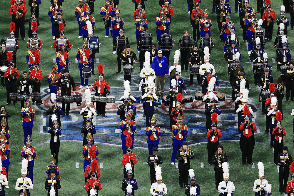 High school marching bands perform during the 2018 Chick-fil-A Peach Bowl NCAA football game on Monday, January 1, 2018 in Atlanta. (Daniel Shirey / Abell Images for the Chick-fil-A Peach Bowl)
