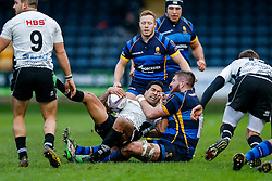 Zebre Winger Dion Berryman is tackled by Worcester Lock Darren O'Shea - Mandatory byline: Rogan Thomson/JMP - 16/01/2016 - RUGBY UNION - Sixways Stadium - Worcester, England - Worcester Warriors v Zebre Rugby - European Rugby Challenge Cup.