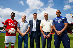 Lancer Scott sponsor photo. With Bristol City footballer Kieran Agard, Bristol Sport CEO Andrew Billingham and Bristol Rugby's new signing Tom Varndell - Photo mandatory by-line: Rogan Thomson/JMP - 07966 386802 - 09/07/2015 - SPORT - Bristol, England - Ashton Gate Stadium - Bristol Sport Preseason Sponsor Photos.