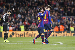 January 13, 2019 - Barcelona, Catalonia, Spain - FC Barcelona forward Lionel Messi (10) celebrates his goal number four hundred at ''La Liga'' during the match FC Barcelona against Eibar, for the round 19 of the Liga Santander, played at Camp Nou  on 13th January 2019 in Barcelona, Spain. (Credit Image: © Mikel Trigueros/NurPhoto via ZUMA Press)