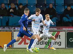 Callum McCowatt og Lucas Haren (FC Helsingør) under kampen i 1. Division mellem HB Køge og FC Helsingør den 4. december 2020 på Capelli Sport Stadion i Køge (Foto: Claus Birch).