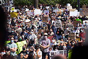 The Black Lives Matter Movement holds a peaceful rally in Redwood City, California, on June 2, 2020. (Stan Olszewski for ZUMA Press)