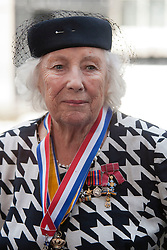 © Licensed to London News Pictures. LONDON, UK  10/06/11. Dame Vera Lynn DBE outside Number 10 Downing Street as she attends a party celebrating the Royal British Legion's 90th Birthday. Prime Minister David Cameron today hosted a party at 10 Downing Street for the Armed Forces to celebrate the Royal British Legion's 90th anniversary and in support of the charity's Battle Back Centre for the recovery of service personnel.  Please see special instructions for usage rates. Photo credit should read Matt Cetti-Roberts/LNP